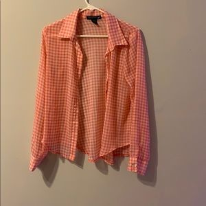 Pink and white checkered blouse